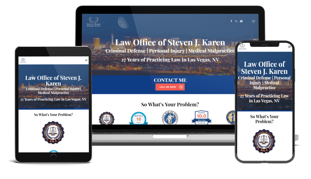 3 screen showing responsive of law office