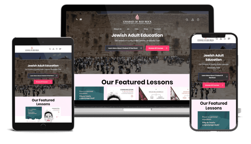 an image of three screens different views for Jewish Education Online