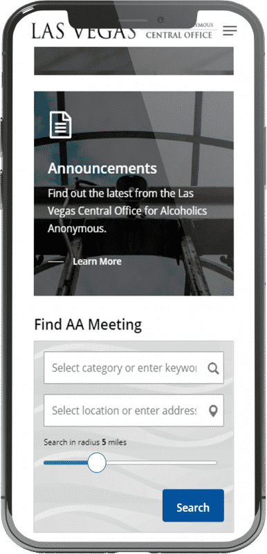 screenshot of las vegas mobile screen find meeting
