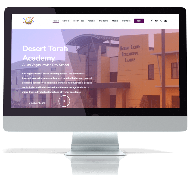 front page image of desert torah academy website