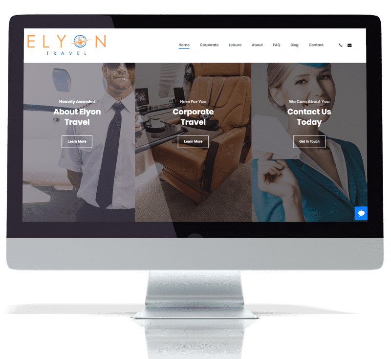 screenshot of elyon travel website about page