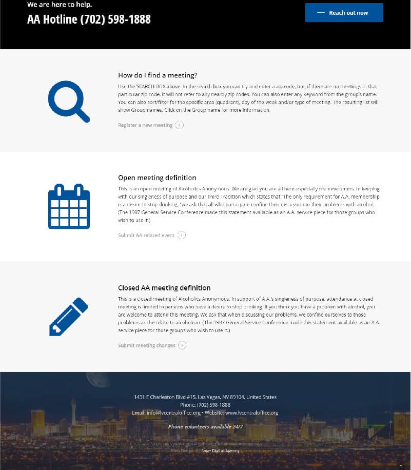 Alcoholics Anonymou Website Design and Development in Las Vegas