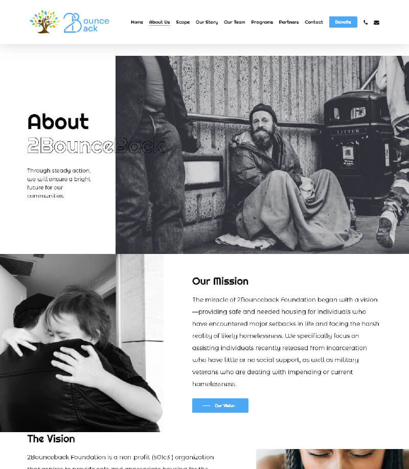 Bounce-Back About Landing Page Design
