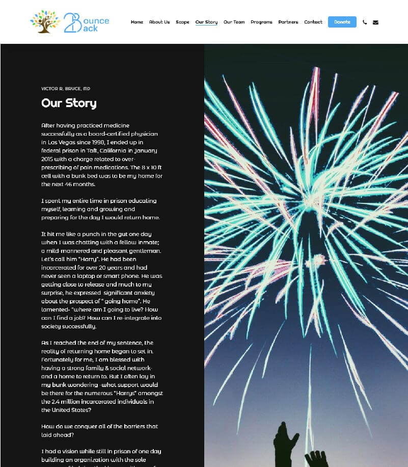 Bounce Back Our Story Landing Page