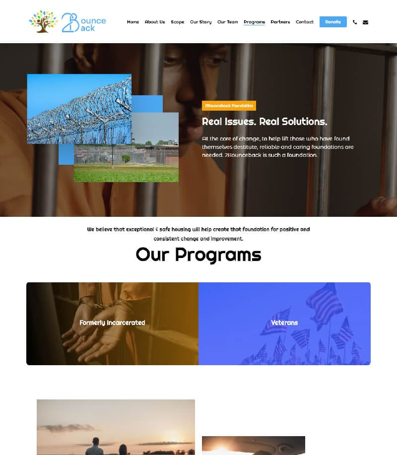 Bounce-Back Our Programs Landing Page Design