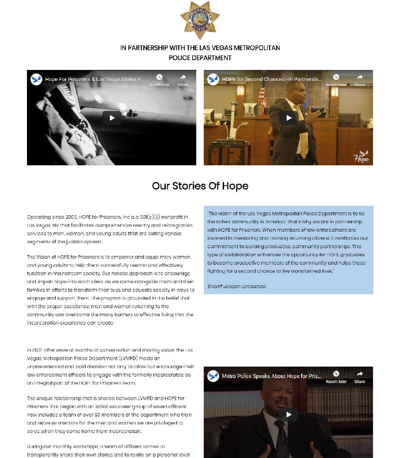 Hope Prisoners Our Story of Hope Landing Page