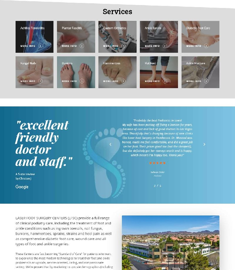 Laser Foot Excellent Friendly Doctor and Staff Landing Page