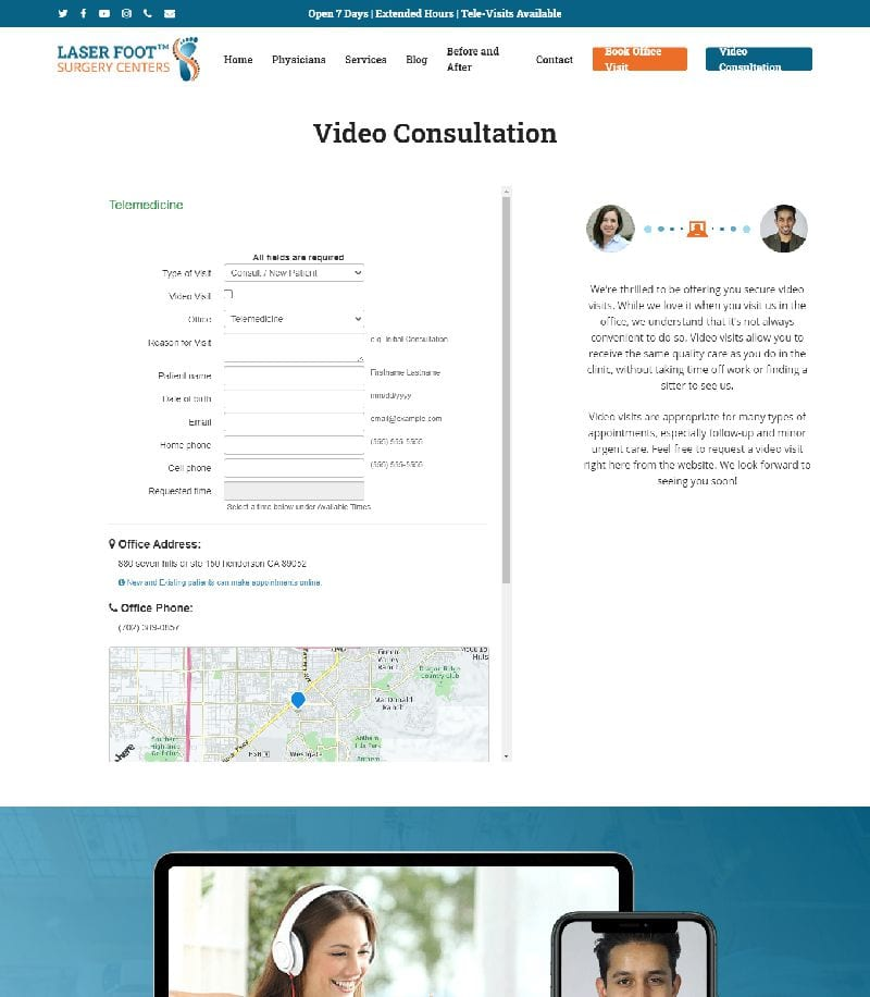 Laser Foot Video Consultation Landing Page