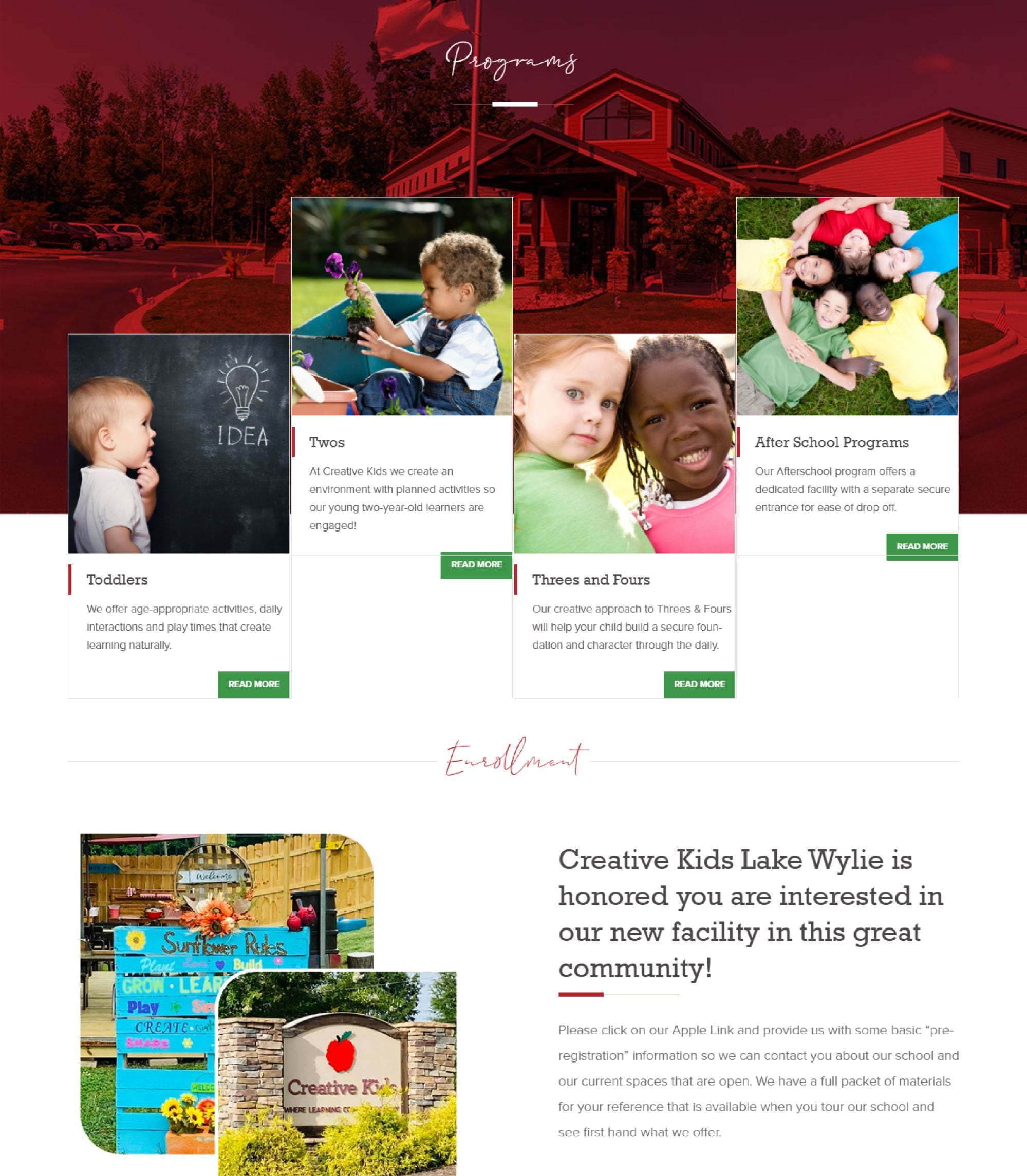 web development for a daycare business