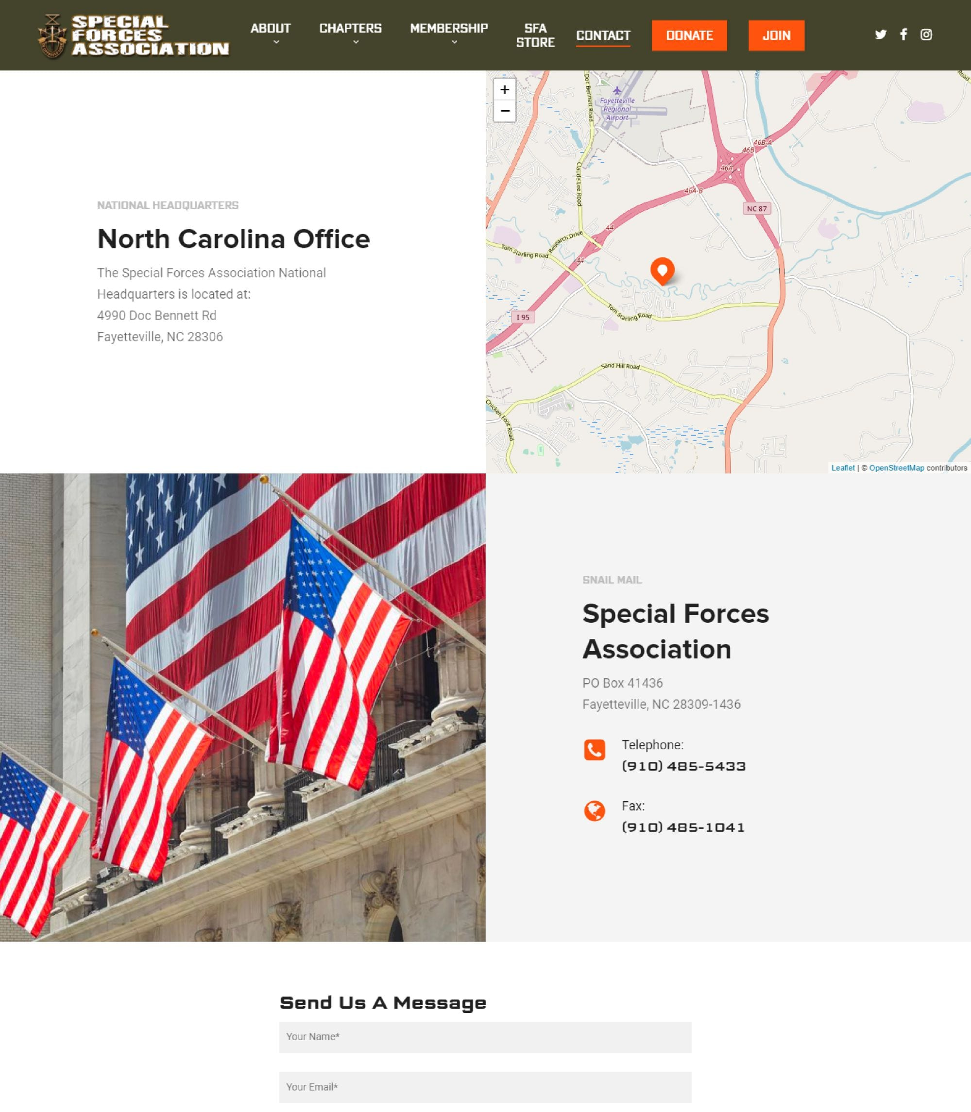 contact page web design for special forces association