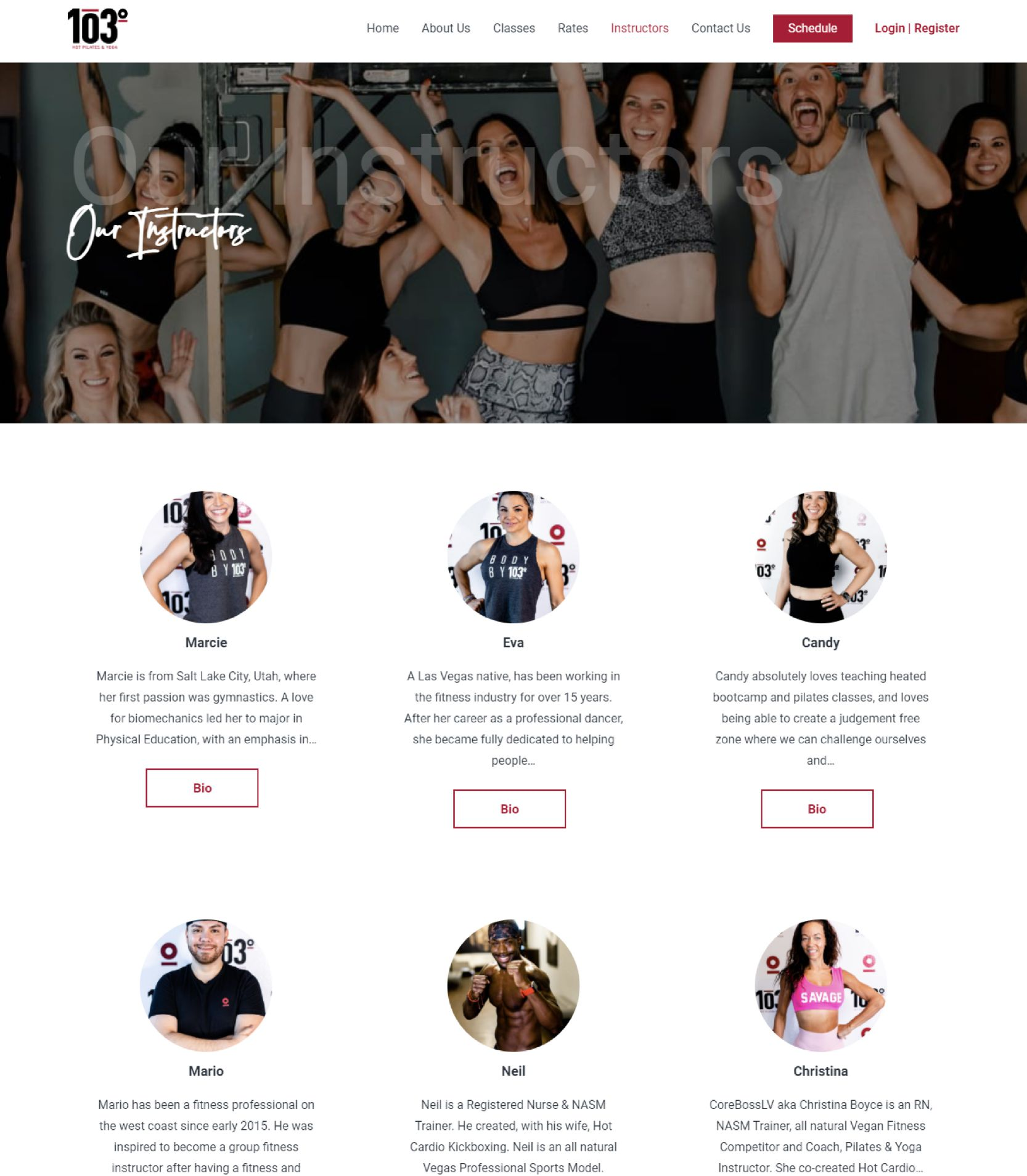 103 Yoga Our Instructor Landing Page Design